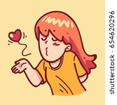 girl give a kiss | Shutterstock .eps vector #654620296