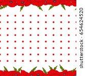 seamless vector pattern. poppy... | Shutterstock .eps vector #654624520