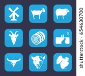 rural icon. set of 9 filled... | Shutterstock .eps vector #654630700