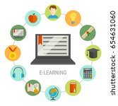 elearning round composition... | Shutterstock .eps vector #654631060