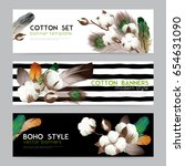 cotton bolls with feathers boho ... | Shutterstock .eps vector #654631090