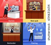 four square cocktail people... | Shutterstock .eps vector #654631654
