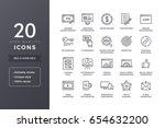 seo line icons. vector web... | Shutterstock .eps vector #654632200