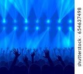 concert crowd with raised hands ... | Shutterstock .eps vector #654637498