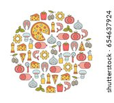 round design element with pizza ... | Shutterstock .eps vector #654637924