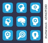 brain icon set of 9 filled