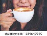 closeup image of asian woman... | Shutterstock . vector #654640390