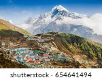 view on namche bazar  khumbu... | Shutterstock . vector #654641494