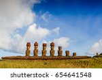moais at anakena beach in... | Shutterstock . vector #654641548