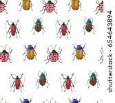 bright watercolor seamless... | Shutterstock . vector #654643894