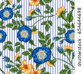 seamless pattern of floral... | Shutterstock .eps vector #654644698