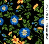 seamless pattern of floral... | Shutterstock .eps vector #654644710
