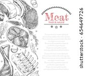 background with different meat... | Shutterstock .eps vector #654649726