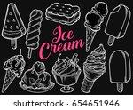 ice cream set of sweet dessert... | Shutterstock .eps vector #654651946
