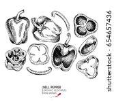 vector hand drawn set of farm... | Shutterstock .eps vector #654657436