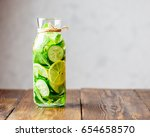 detox water infused with sliced ... | Shutterstock . vector #654658570