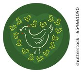 vector silhouettes of white hen ... | Shutterstock .eps vector #654661090