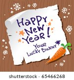 New Year card from lucky Bunny. - stock vector