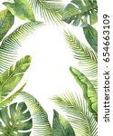 watercolor rectangular frame... | Shutterstock . vector #654663109