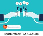 businessmen's hand connecting... | Shutterstock .eps vector #654666088
