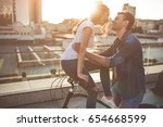 beautiful romantic couple is... | Shutterstock . vector #654668599