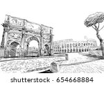 triumphal arch of constantine.... | Shutterstock .eps vector #654668884