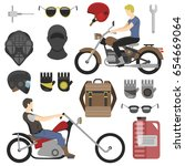 two motorcyclist with...   Shutterstock .eps vector #654669064