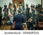 press conference. public... | Shutterstock . vector #654669214