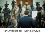 press conference. public... | Shutterstock . vector #654669226