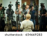 press conference. public... | Shutterstock . vector #654669283