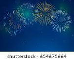 brightly colorful fireworks on... | Shutterstock .eps vector #654675664