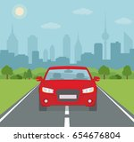 picture of car on the road with ... | Shutterstock .eps vector #654676804