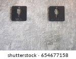 toilet wc restroom sign men and ... | Shutterstock . vector #654677158
