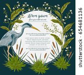 heron bird and and swamp plants.... | Shutterstock .eps vector #654681136