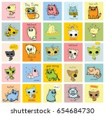 vector cards with cute cats and ... | Shutterstock .eps vector #654684730