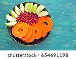 fruit bowl with fruits on... | Shutterstock . vector #654691198