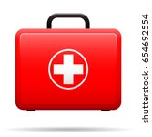 first aid kit. red case with... | Shutterstock .eps vector #654692554