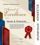 award of excellence with wax... | Shutterstock .eps vector #654693718