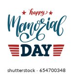 happy memorial day lettering.... | Shutterstock .eps vector #654700348