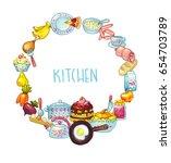 kitchen  wreath | Shutterstock . vector #654703789