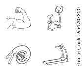biceps  exercise bike  skipping ... | Shutterstock .eps vector #654707350