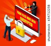 ransomware malware wannacry...   Shutterstock .eps vector #654712258