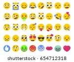 emoji set smile of isolated on... | Shutterstock .eps vector #654712318