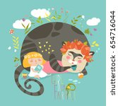 cute girl reading book for... | Shutterstock .eps vector #654716044