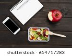 top view of organic salad with... | Shutterstock . vector #654717283