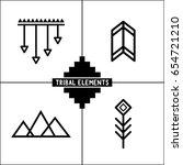 aztec tribal vector elements... | Shutterstock .eps vector #654721210