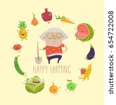 cute granny farmer with funny... | Shutterstock .eps vector #654722008