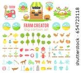 farm creator. big set of vector ... | Shutterstock .eps vector #654723118