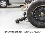 closeup wheels and shock...   Shutterstock . vector #654727600