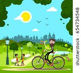 man on bicycle in city park... | Shutterstock .eps vector #654734548